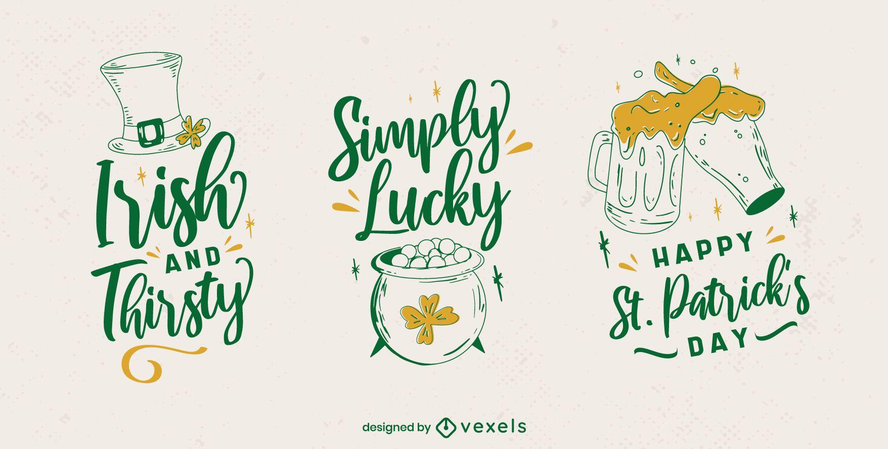 St Patricks badge set