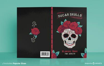 Design de capa de livro com caveira de açúcar