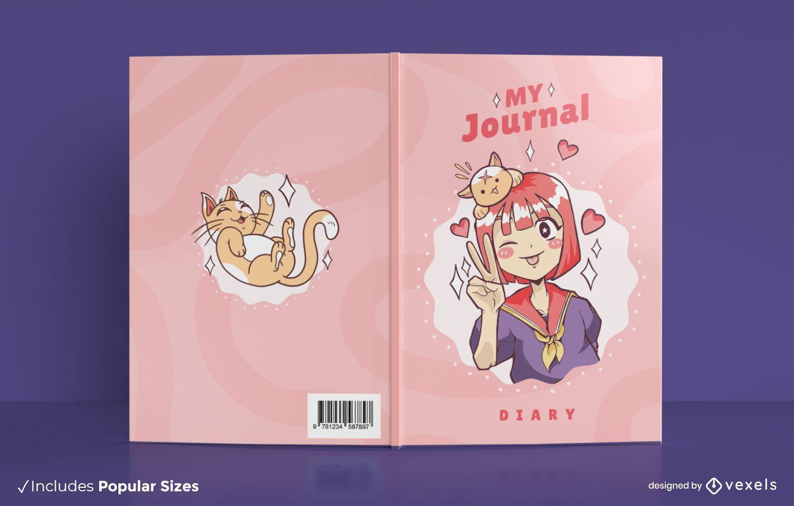 Design da capa do livro de anime do meu jornal