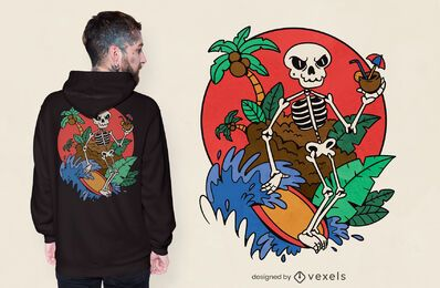 Surfing skeleton t-shirt design