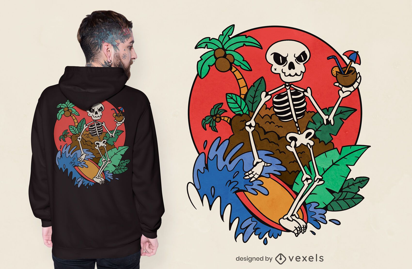 Diseño de camiseta de esqueleto de surf.