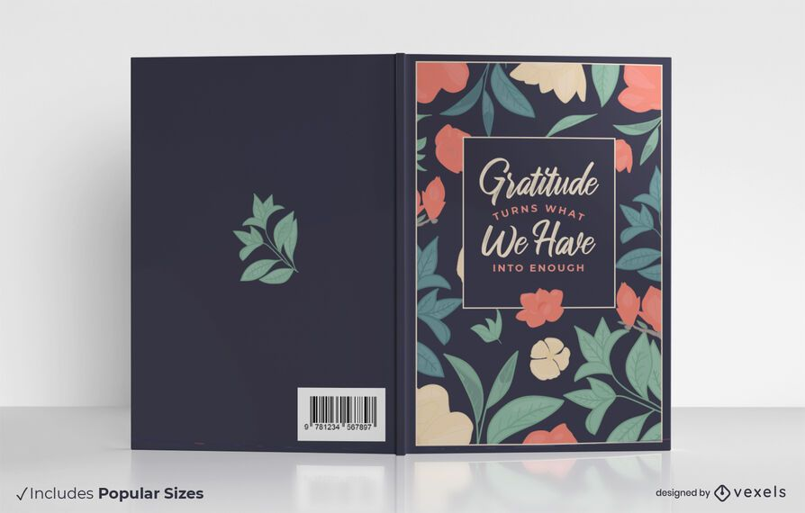Diseño de portada de libro de cita de gratitud