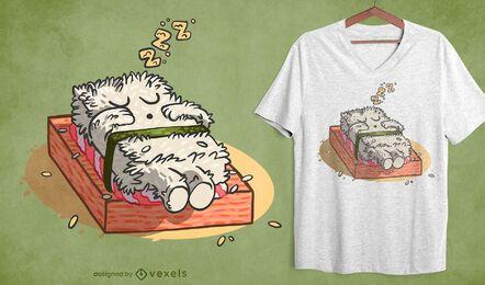 Design de camiseta para dormir de sushi