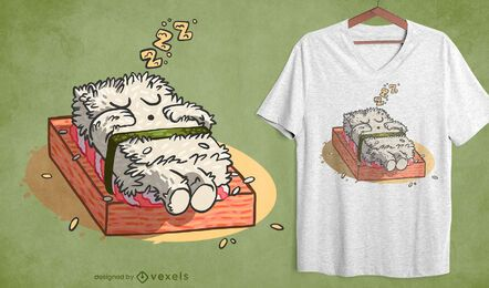 Sushi sleeping t-shirt design