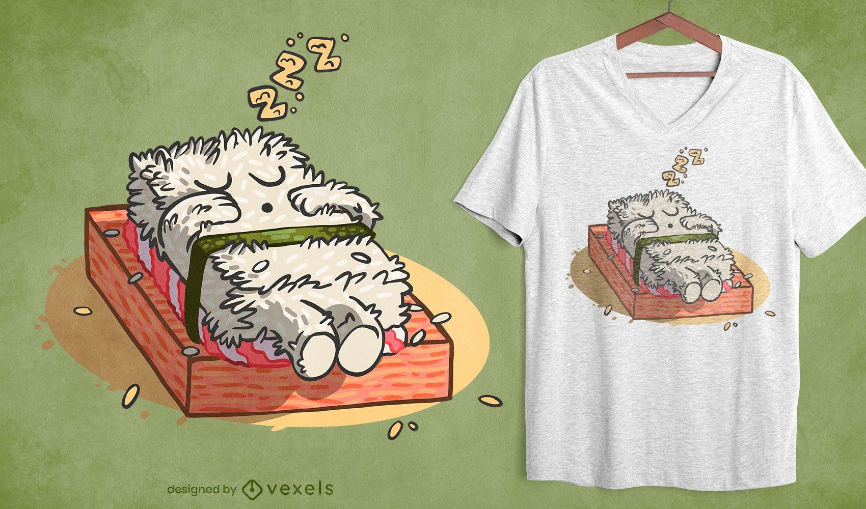 Diseño de camiseta para dormir sushi.