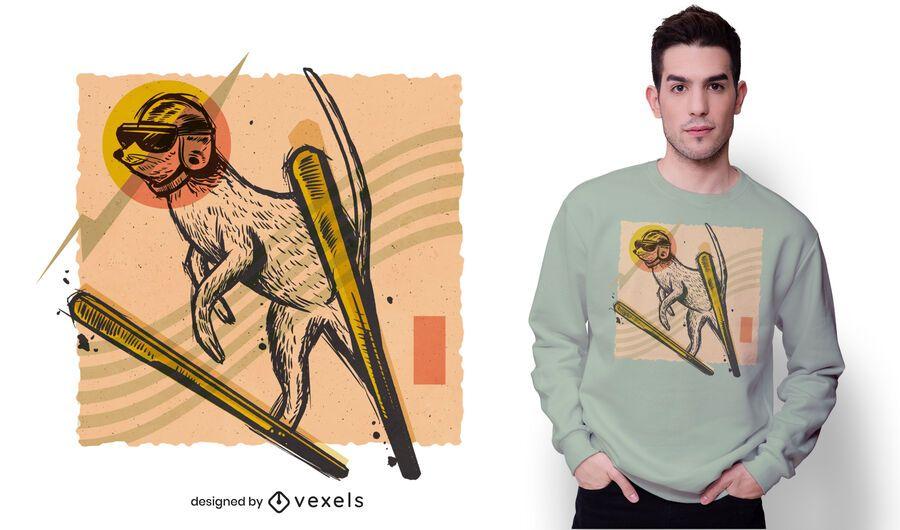 Design de camiseta de esqui Meerkat
