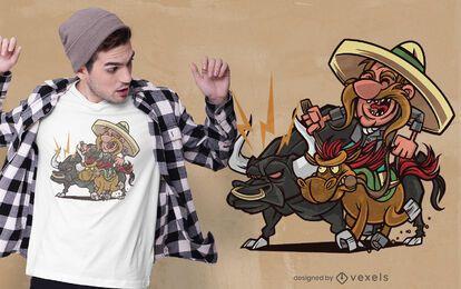 Diseño de camiseta de toro charro