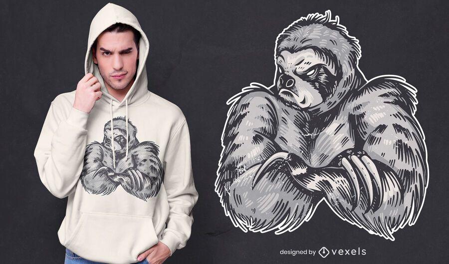 Diseño de camiseta de perezoso fuerte