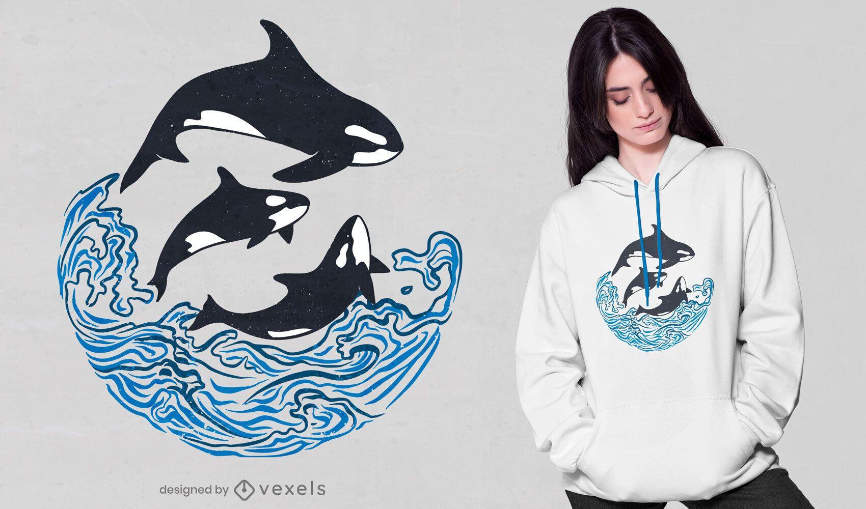 Diseño de camiseta de ballenas asesinas