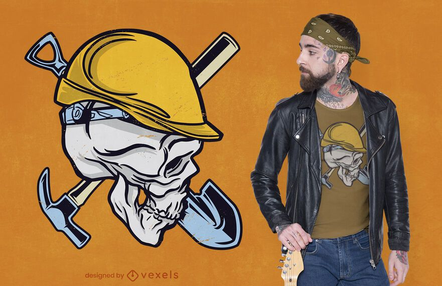 Design de camiseta com caveira de construção