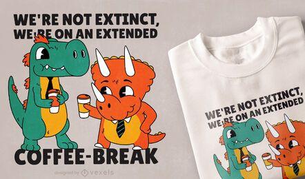 Design de t-shirt da pausa para o café dos dinossauros