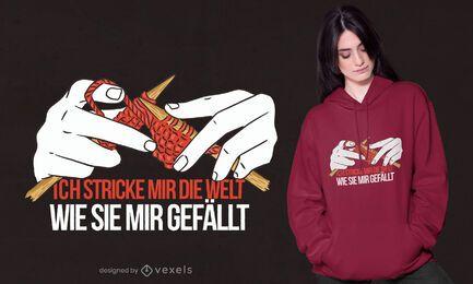 Design de t-shirt de tricô com citação alemã