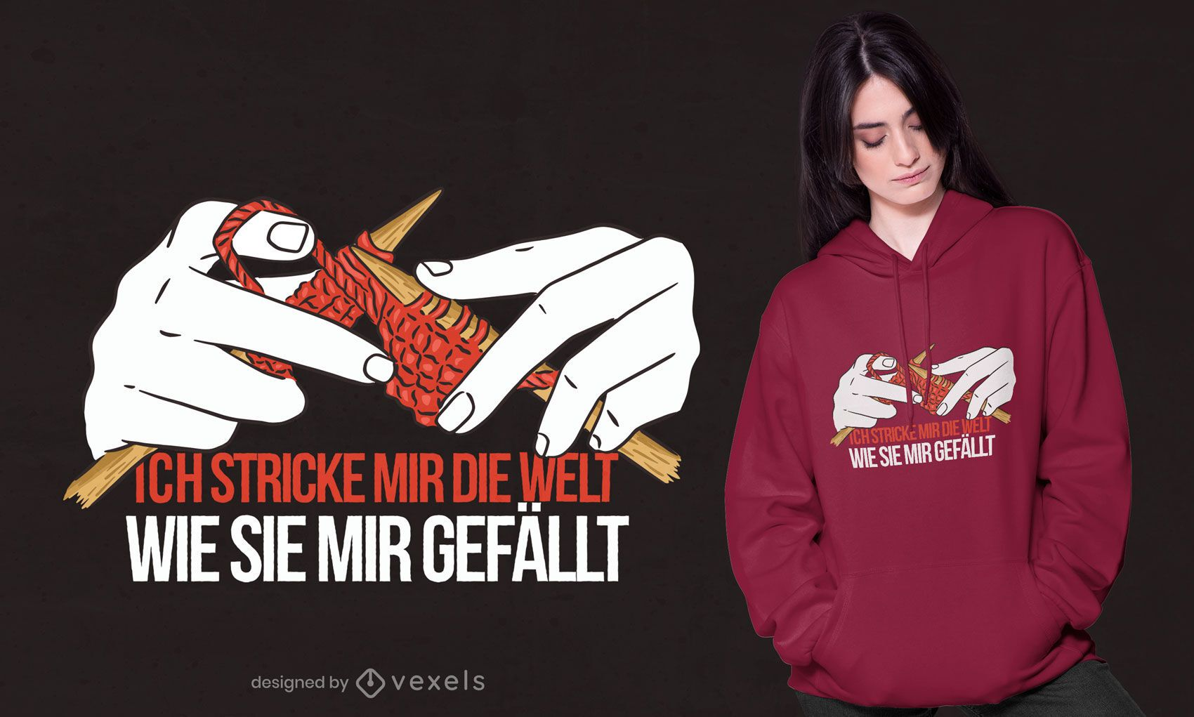 Knitting german quote t-shirt design
