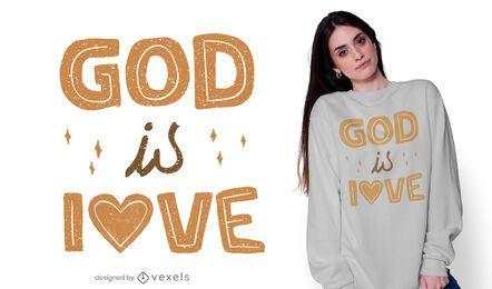 Deus é amor design de camisetas