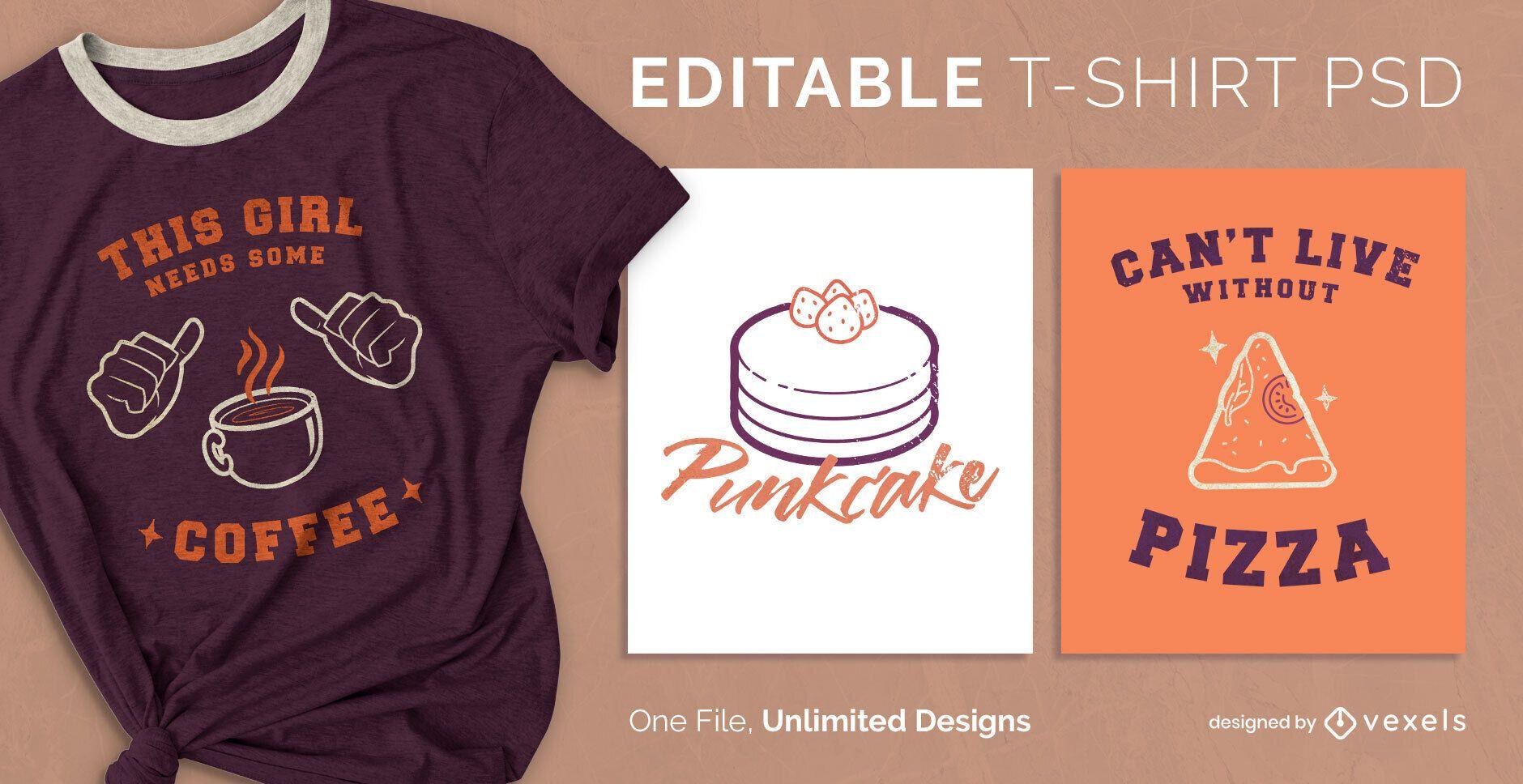 Camiseta escalable de alimentos psd