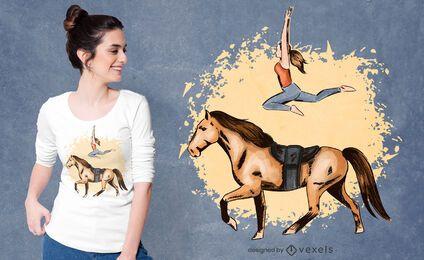 Diseño de camiseta de truco de caballo.