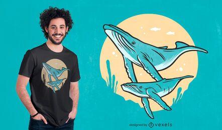 Diseño de camiseta de ballenas jorobadas