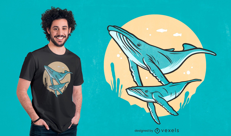 Humpback whales t-shirt design