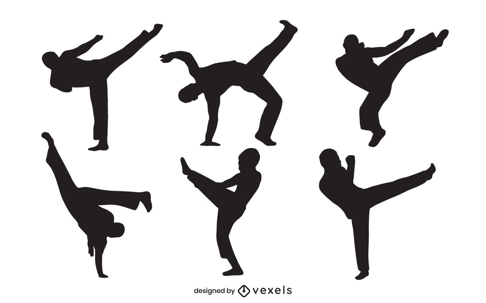 Conjunto de silueta de capoeira