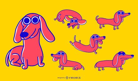 Dachshund dog cartoon set