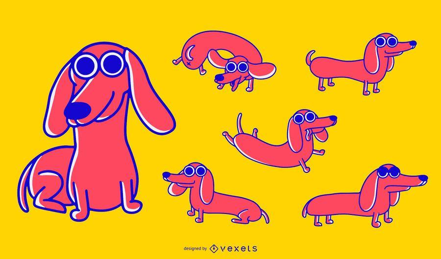 Dachshund dog cartoon set
