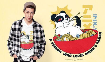 Diseño de camiseta panda ramen