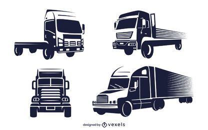 Conjunto de caminhão monocromático