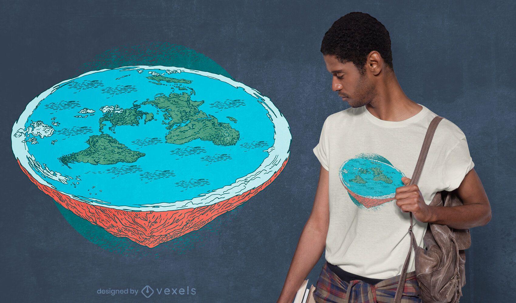Diseño de camiseta de teoría de la tierra plana.