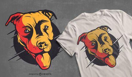 Design de camiseta da cabeça de Pitbull
