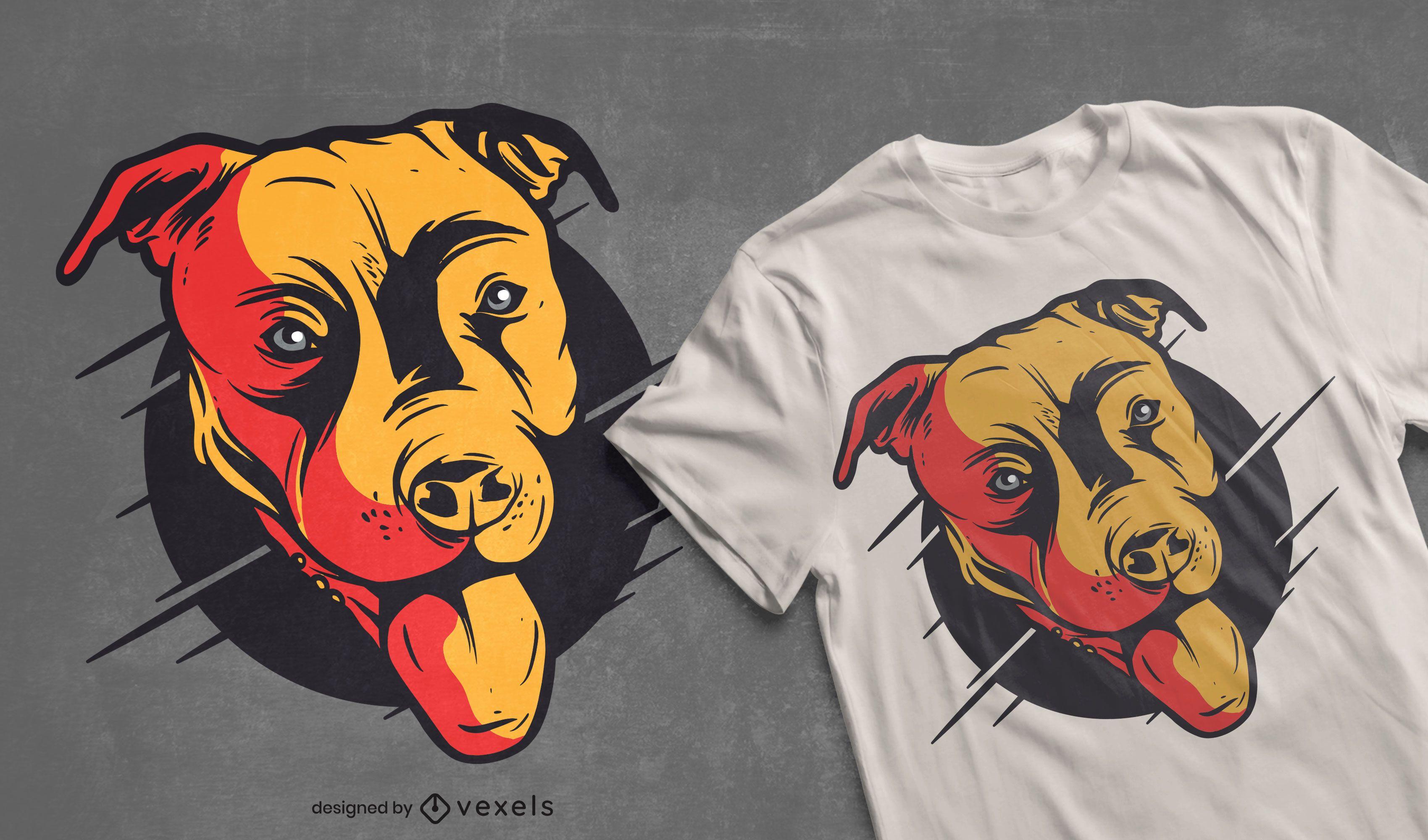 Diseño de camiseta de cabeza de pitbull