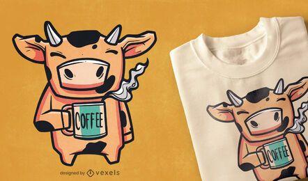 Diseño de camiseta de vaca de café