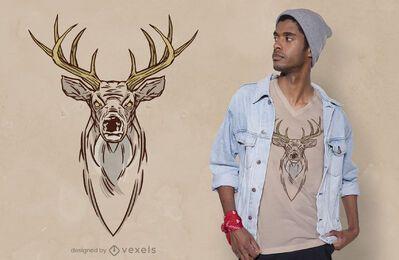 Diseño de camiseta de cabeza de ciervo
