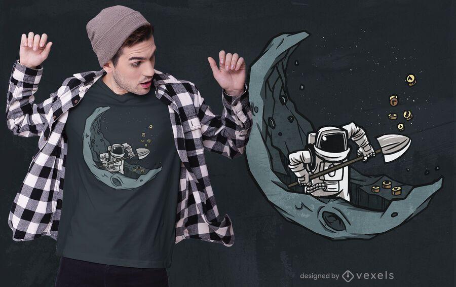 Design de t-shirt criptográfica de astronauta