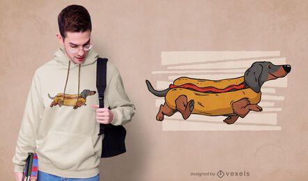 Diseño de camiseta de perro caliente.