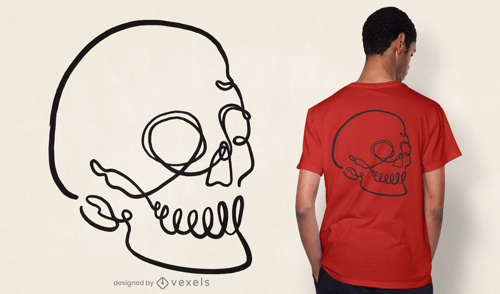 Line art skull t-shirt design