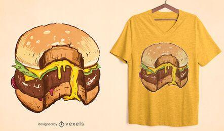 Diseño de camiseta de hamburguesa con queso
