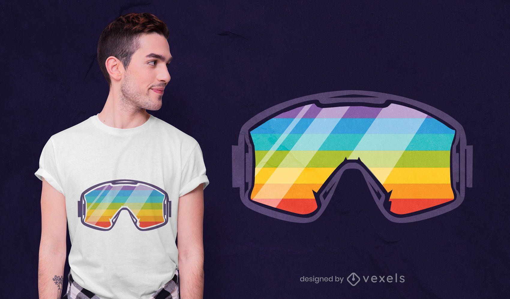 Ski rainbow goggles t-shirt design
