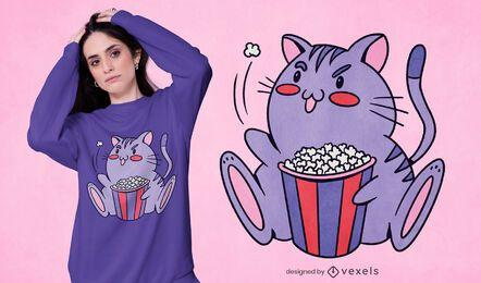 Design de t-shirt de gato pipoca