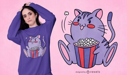 Diseño de camiseta de gato de palomitas de maíz