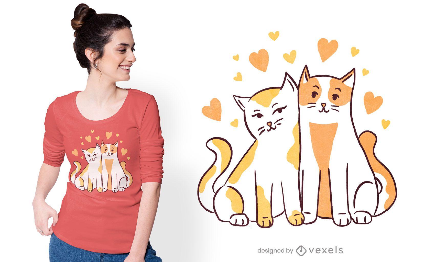 Dise?o de camiseta de gatos enamorados.