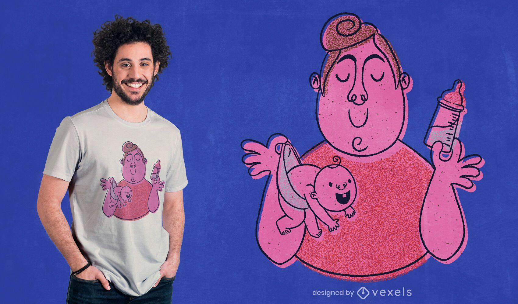 Hombre que sostiene el diseño de la camiseta del bebé
