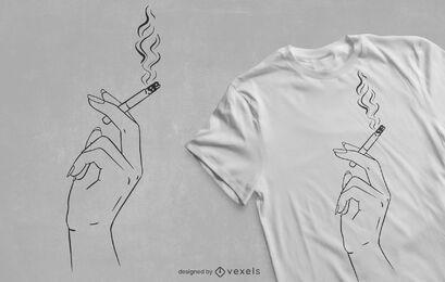 Diseño de camiseta de mano fumando