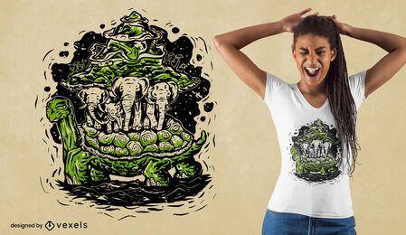 Diseño de camiseta de tortuga de tierra plana