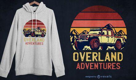 Diseño de camiseta retro overland adventures