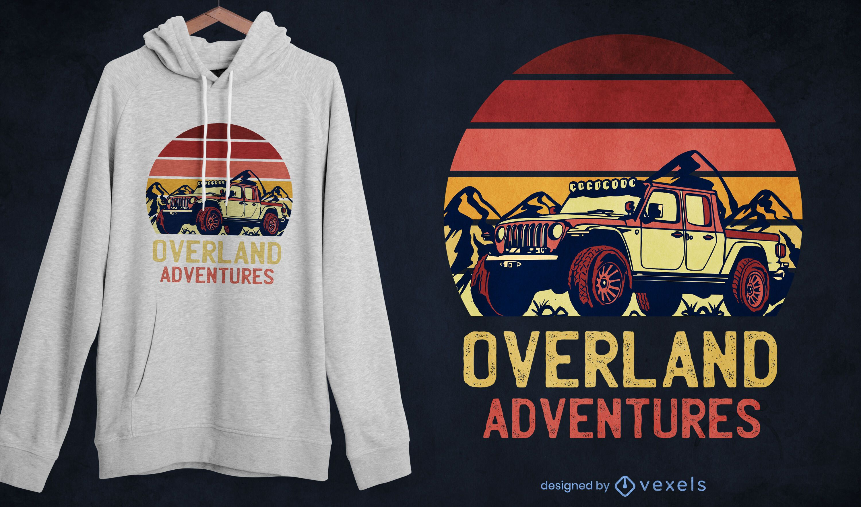 Overland adventures retro t-shirt design