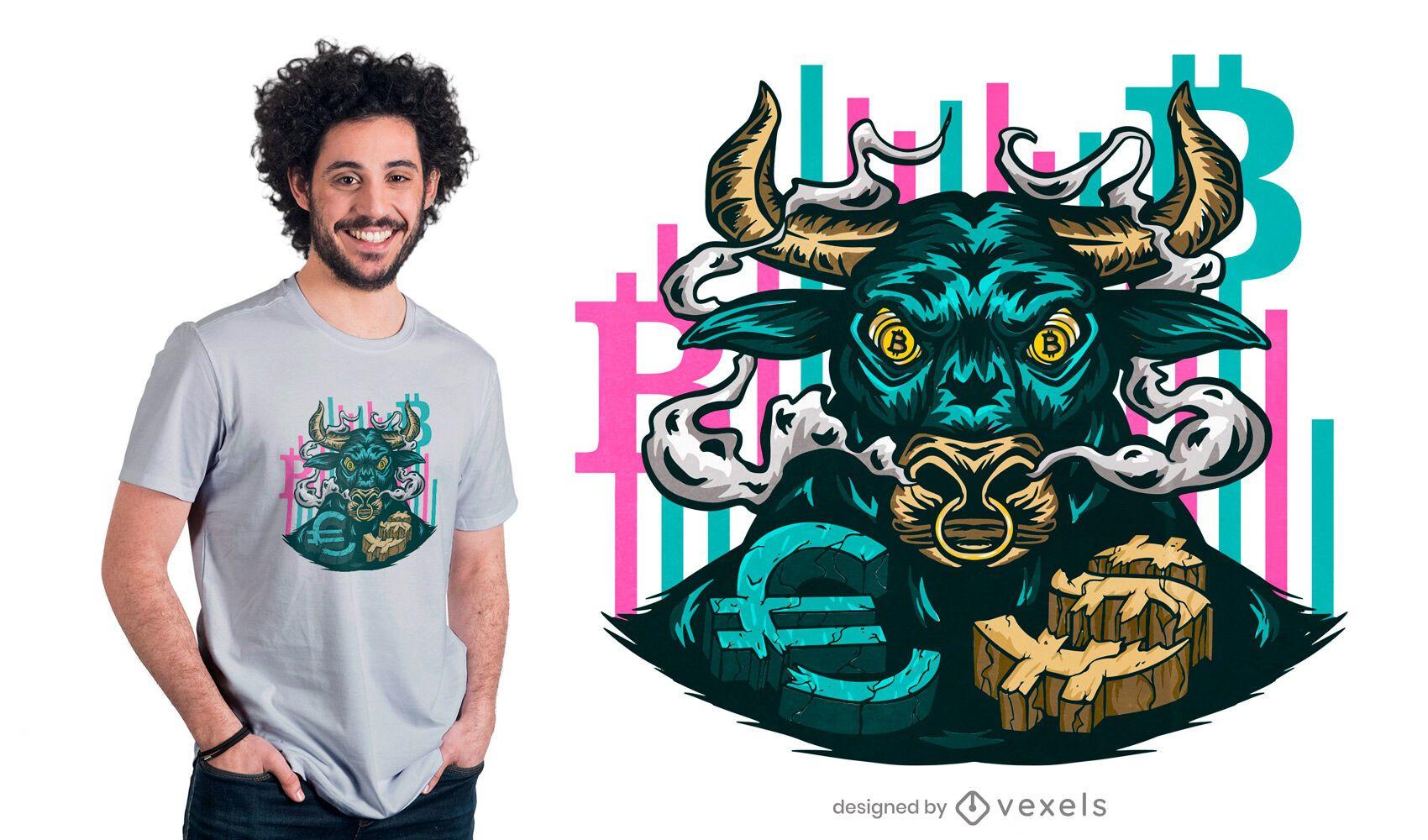 Diseño de camiseta bull bitcoin