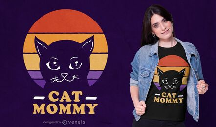 Diseño de camiseta retro cat mommy