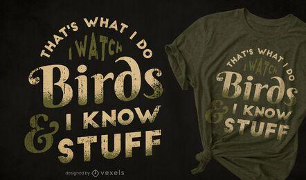 Design de camisetas para observação de pássaros