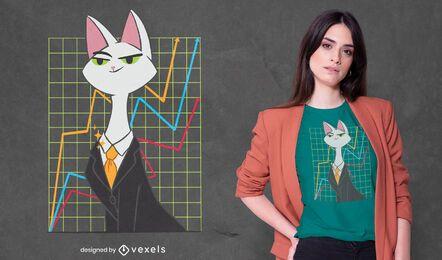 Design de camiseta de gato investidor
