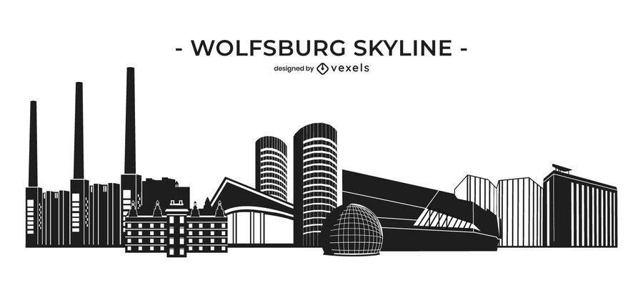 Wolfsburg monochrome skyline
